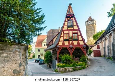 Rothenburg ob der Tauber, Germany - April 12, 2018: Famous Medieval city of Rothenburg ob der Tauber