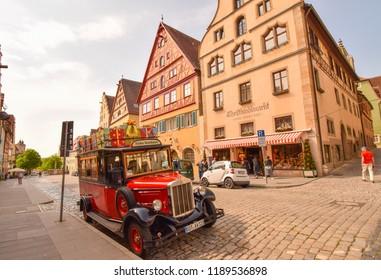 Rothenburg Ob Der Tauber, Germany. May 2018 - The Beautiful Christmas car outside Kathe Wohlfahrt Christmas shop in Rothenburg Ob Der Tauber