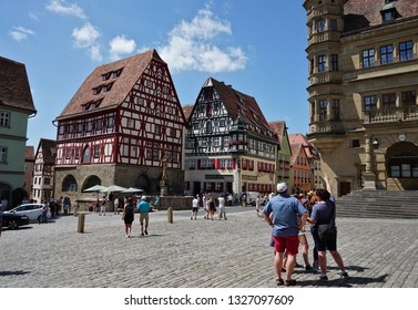 ROTHENBURG OB DER TAUBER, GERMANY - May 30, 2018: Old Town area and City in the Marketplace (Marktplatz) of Rothenburg ob der tauber, Germany.