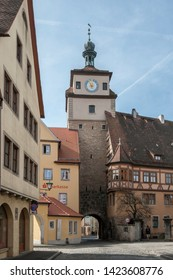 ROTHENBURG OB DER TAUBER, GERMANY -  MARCH 05, 2018:  Rothenburg ob der Tauber an historic and medieval town and one of the most beautiful villages in Europe, Germany,