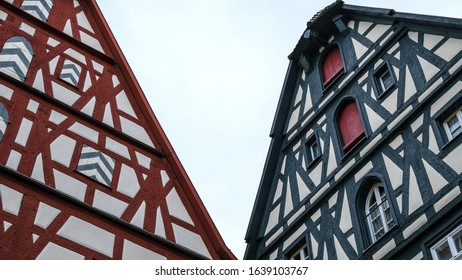 Rothenburg ob der Tauber, Germany - October 10, 2019: A multi-ethnic group of high school students on an educational field trip, historic medieval town with traditional German half-timbered houses