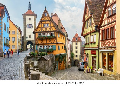 Rothenburg ob der Tauber, Germany - October 2016: scenic street view on a grey day
