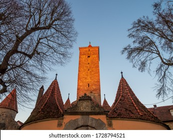 Rothenburg ob der Tauber, Germany - Feb 16th, 2019:  Tradditional tower at  city wall of Rothenburg ob der Tauber, Germany
