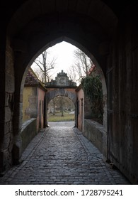 Rothenburg ob der Tauber, Germany - Feb 16th, 2019:  Entrance gate to the city wall of Rothenburg ob der Tauber, Germany