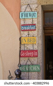 Rothenburg ob der Tauber, Germany - 20 Oct 2012: Interesting composition of signs & labels at one of a souvenir shop in shopping street in Rothenburg old town