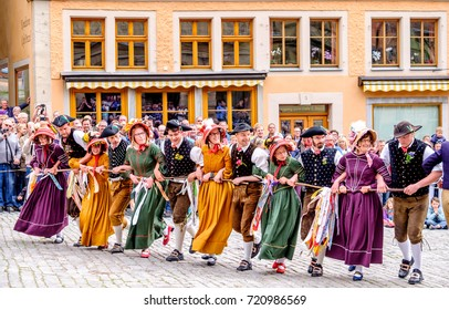 ROTHENBURG OB DER TAUBER, GERMANY - MAY 24: people at the typical annual medieval festival on may, 24 2015 in Rothenburg ob der Tauber