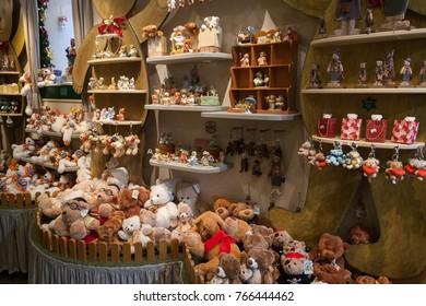 ROTHENBURG OB DER TAUBER/ GERMANY - DECEMBER 14, 2008: Plenty of  toy bears in souvenirs shop on December 14, 2008 in Rothenburg ob der Tauber.