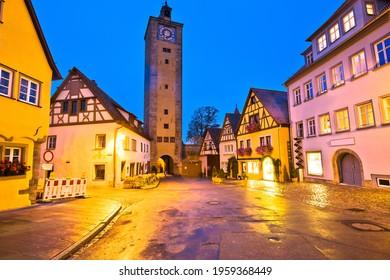 Rothenburg ob der Tauber. Hisoric tower gate of medieval German town of Rothenburg ob der Tauber. Bavaria region of Germany