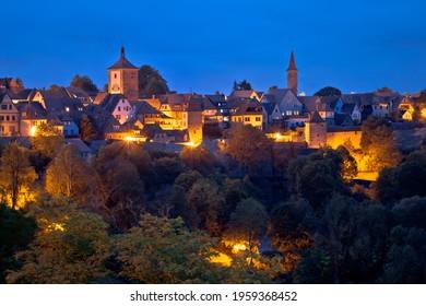 Rothenburg ob der Tauber. Historic town of Rothenburg ob der Tauber evening landmarks view, Romantic road of Bavaria region of Germany