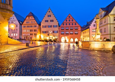 Rothenburg ob der Tauber. Main square (Marktplatz or Market square) of medieval German town of Rothenburg ob der Tauber evening view. Bavaria region of Germany