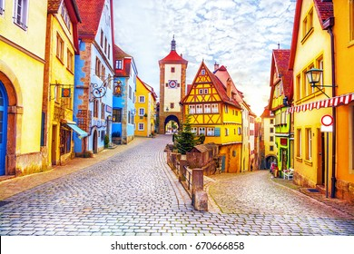 Rothenburg ob der Tauber, picturesque medieval historic town in Bavaria, Germany.