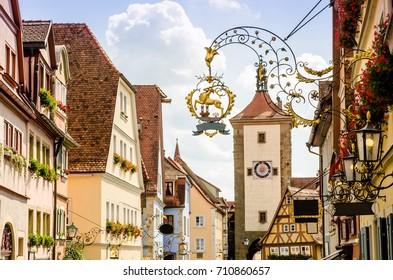 Rothenburg ob der Tauber with Siebers Tor at Ploenlein