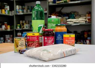 ROTHERHAM, ENGLAND, UK – FEBRUARY 14, 2019:  A selection of donated food and drink in a Trussell Trust local church food bank ready for food parcels