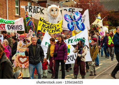 Rotherham, South Yorkshire/U.K-March 31 2019 Anti fracking march through the small village of Harthill in South Yorkshire, U.K. People from all over the U.K. attended this peaceful march.