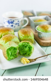 Roti Pandan or Pandan Rolls, is sweet bread made with pandan juice or extract to produce natural fragrant and green color. An Indonesian common bread variant.