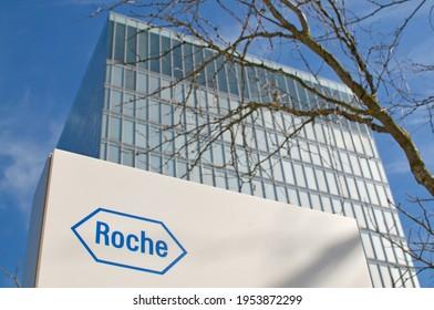 Rotkreuz, Zug, Switzerland - 28th March 2021 : Roche sign in front of the Roche Diagnostics Tower in Rotkreuz, Switzerland. F. Hoffmann-La Roche AG is a Swiss multinational healthcare company