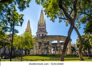 Rotonda de los Jalisciences Ilustres and Cathedral - Guadalajara, Jalisco, Mexico