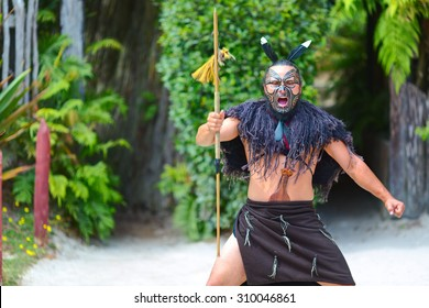 ROTORUA, NEW ZEALAND - 30 JANUARY 2015: Maori tribes traditional greeting show. Vicinity of Rotorua town. The Maori are the indigenous Polynesian people of New Zealand.