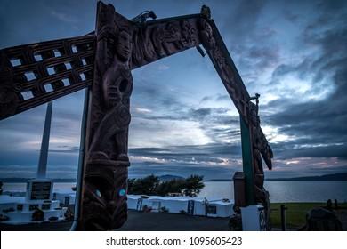 ROTORUA, NEW ZEALAND - AUGUST 10, 2018:  Maori carvings mark the entrance to a cemetery for members of New Zealand's 28th Battalion, better known as the Maori Battalion. They fought in World War Two.