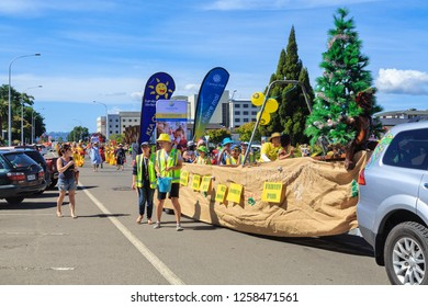 Rotorua / New Zealand - December 8 2018: A Christmas Parade in Rotorua, NZ. Kindergarten Children Are Riding in a Covered Waka (Canoe), With a Christmas Tree in it