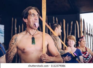 Rotorua, New Zealand -December-11-2017 : Maori tribes traditional greeting. The Maori are the indigenous Polynesian people of New Zealand.