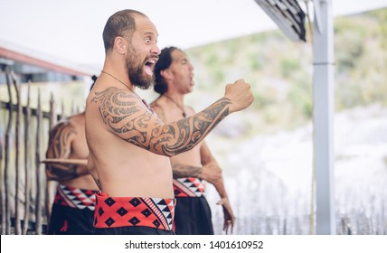 Rotorua, New Zealand -December-11-2017 : Maori tribes traditional war cry. The Maori are the indigenous Polynesian people of New Zealand.
