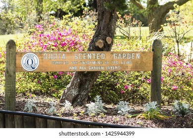 Rotorua, New Zealand - October 16, 2018: Signpost for the Quota Scented Garden donated by the blind for the enjoyment of all, located at Kuirau Park.