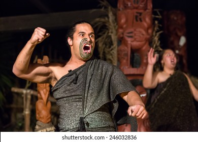 Rotorua, New Zealand - September 25: View of unidentified Maori people near a traditional Maori Village in Rotorua, New Zealand on September 25, 2014.