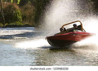 ROTORUA, NEW ZEALAND-JUNE 30, 2004:  The thrill of jet boating at a park outside Rotorua draws locals and tourists alike.