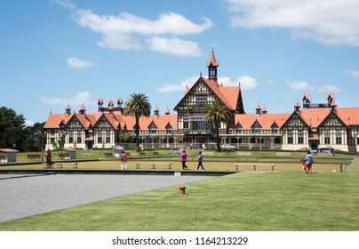 Rotorua, North Island/New Zealand-December 16,2016: The Elizabethan Museum with tourists in gardens in Rotorua, New Zealand