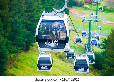 ROTORUA, NZ - Apri 18 2014:Skyline Gondola Cableway,A 900 metre long Doppelmayr cableway system with a vertical rise of 178.5 metres, is capable of carrying 2000 people an hour in eight-seater cabins.