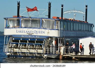 ROTORUA, NZL - JAN 11 2015:Lakeland Queen cruise over Lake Rotorua, New Zealand.It's a modernized replica of a Mississippi River paddlewheel steamboat.