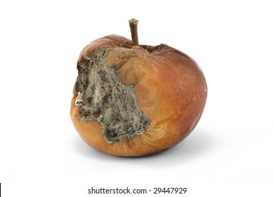 A rotten apple on a white background