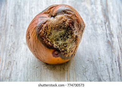 rotten apple on white stressed wood