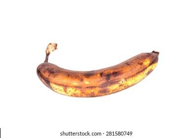 Rotten banana Isolated on white background