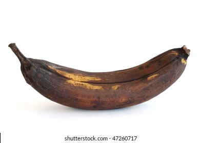 A Rotten Banana Isolated on a White Background