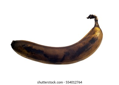 Rotten banana isolated on white background.