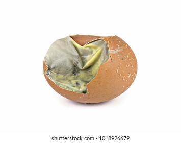 Rotten egg or Broken egg,worm,germs,,crack and dirty isolated on white background.Concepts object signs symbols for food preservation.