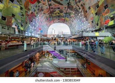 ROTTERDAM, 13 April 2019 - Ceiling the the market hall (Markthal in Dutch) decorated with vegetable, fruits and food paintings