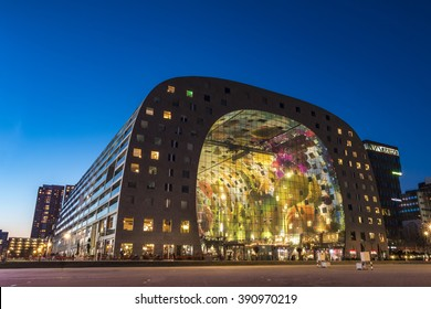 ROTTERDAM, 13 March 2016 - Sunset on the Markthal Building at Rotterdam, Netherlands