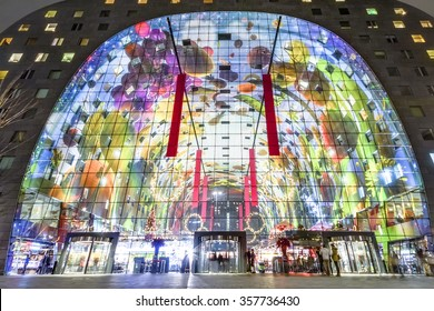 ROTTERDAM, 2nd January 2016: Global view of the Markthal buildin