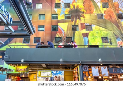 ROTTERDAM - 5 JULY: view of famous Markthal in Rotterdam, The Netherlands on 5 July 2018. Markthal is a famous landmark and considered the most beautiful market hall in The Netherlands.