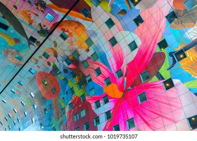 ROTTERDAM - APRIL 13: The Markthal (English: Market Hall) is a residential and office building with a market hall underneath in Rotterdam on April 13, 2017 in Rotterdam, Netherlands