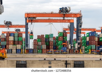 ROTTERDAM - AUG 23, 2017: Sea containers stacked in the Port of Rotterdam.