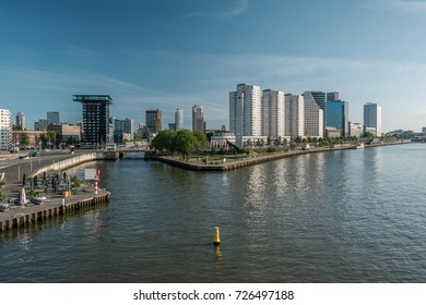 Rotterdam city cityscape skyline Nieuwe Maas (Rhine) river in front. South Holland, Netherlands.