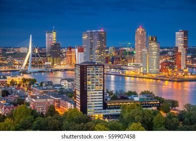 Rotterdam. Cityscape image of Rotterdam, Netherlands during twilight blue hour.