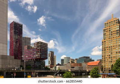 Rotterdam downtown City skyline. Wijnhaven district. NETHERLANDS