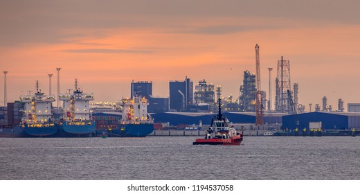 Rotterdam europoort industrial harbor landscape with ships and factories