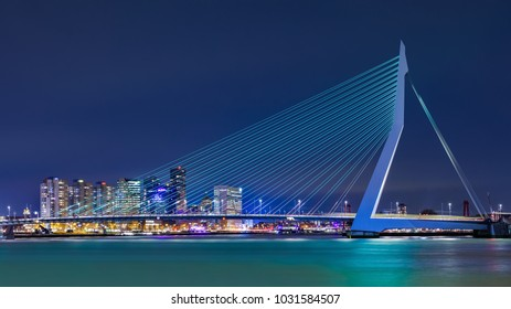 ROTTERDAM- FEBRUARY 14, 2018. The Erasmus Bridge at night. The 284m long bridge was designed by Ben van Berkel (UNStudio) and connects Kop van Zuid with the city center. It has the nick name The Swan.