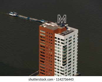 Rotterdam, Holland, 28 June 2018. Aerial photo of skyscraper Montevideo at the Maasharbor. Soccer player Memphis Depay has just bought the penthouse in this landmark